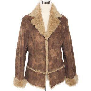 KAITY Brown & Tan Faux Suede Faux Fur Jacket